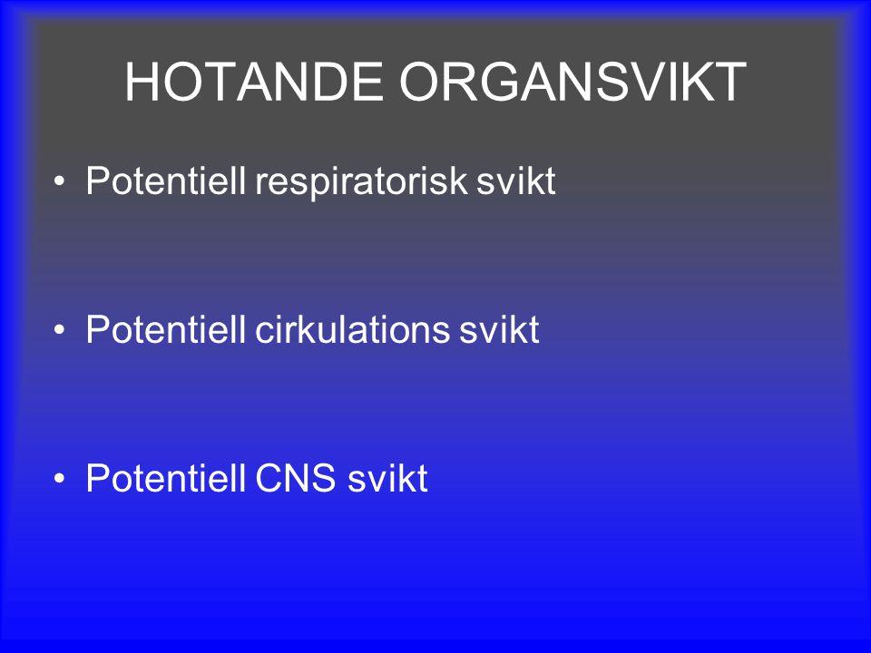 HOTANDE ORGANSVIKT Potentiell respiratorisk svikt Potentiell cirkulations svikt Potentiell CNS svikt