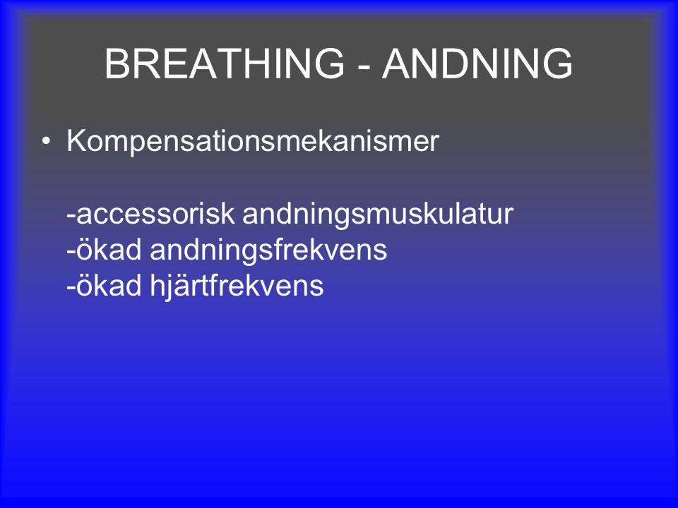 BREATHING - ANDNING Kompensationsmekanismer -accessorisk andningsmuskulatur -ökad andningsfrekvens -ökad hjärtfrekvens