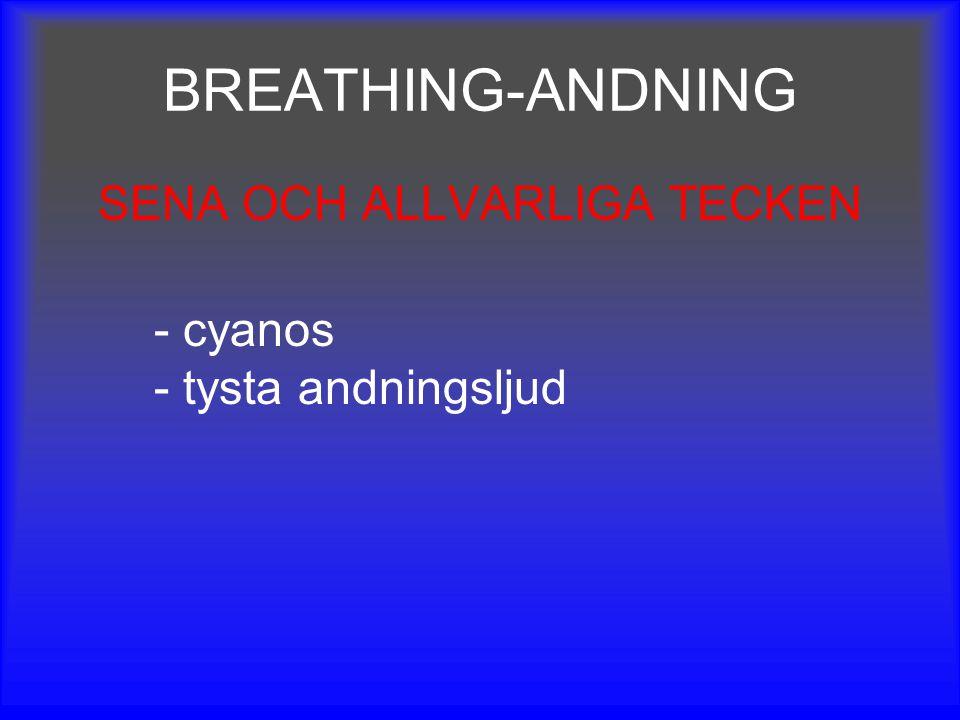 BREATHING-ANDNING SENA OCH ALLVARLIGA TECKEN - cyanos - tysta andningsljud