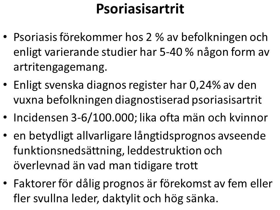 Psoriasisartrit Psoriasis förekommer hos 2 % av befolkningen och enligt varierande studier har 5-40 % någon form av artritengagemang. Enligt svenska d