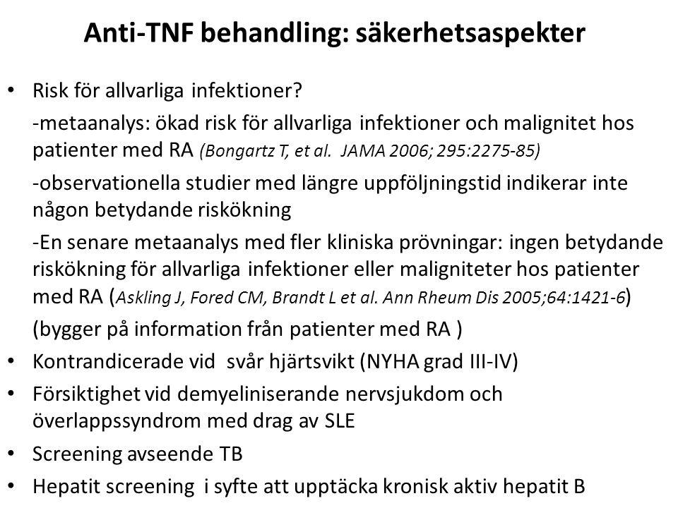 Anti-TNF behandling: säkerhetsaspekter Risk för allvarliga infektioner? -metaanalys: ökad risk för allvarliga infektioner och malignitet hos patienter