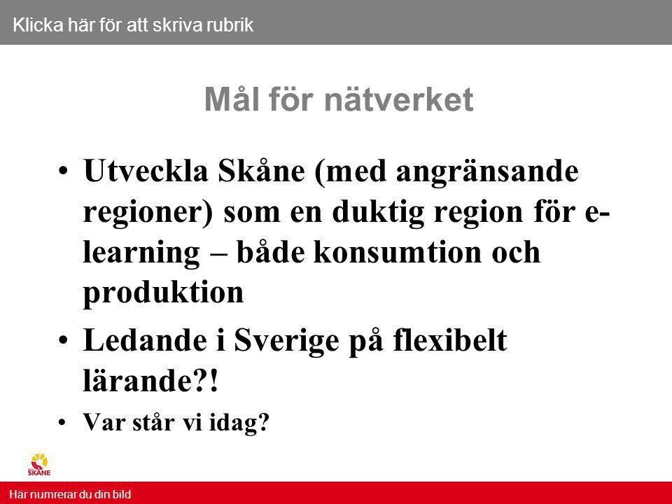 Klicka här för att skriva rubrik Här numrerar du din bild Mål för nätverket Utveckla Skåne (med angränsande regioner) som en duktig region för e- learning – både konsumtion och produktion Ledande i Sverige på flexibelt lärande?.