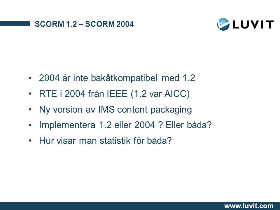 www.luvit.com SCORM 1.2 – SCORM 2004 2004 är inte bakåtkompatibel med 1.2 RTE i 2004 från IEEE (1.2 var AICC) Ny version av IMS content packaging Implementera 1.2 eller 2004 .