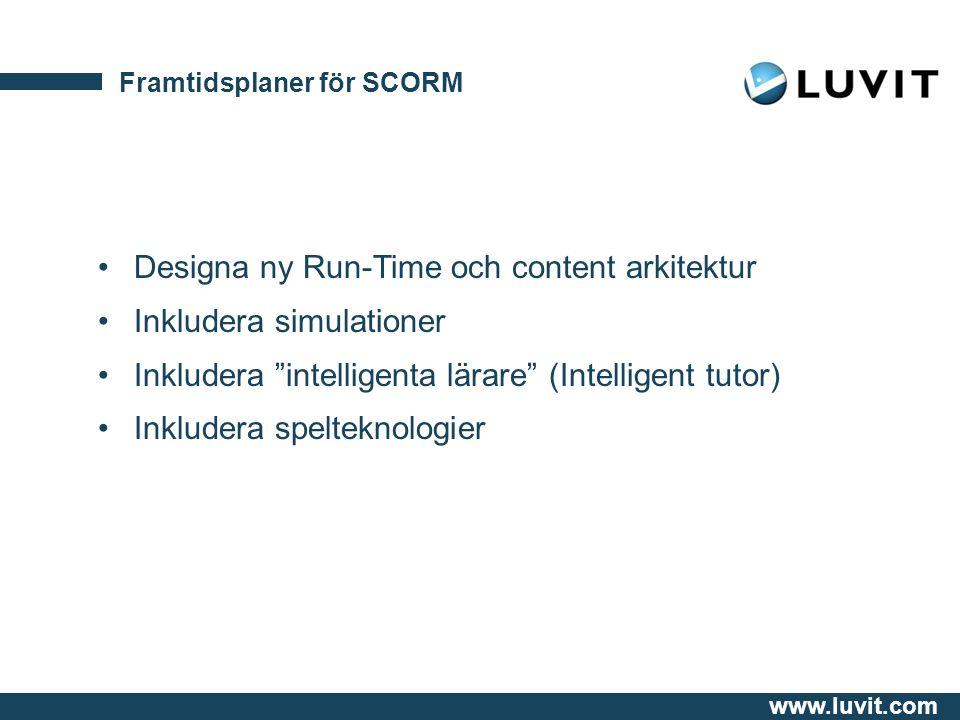 www.luvit.com Framtidsplaner för SCORM Designa ny Run-Time och content arkitektur Inkludera simulationer Inkludera intelligenta lärare (Intelligent tutor) Inkludera spelteknologier