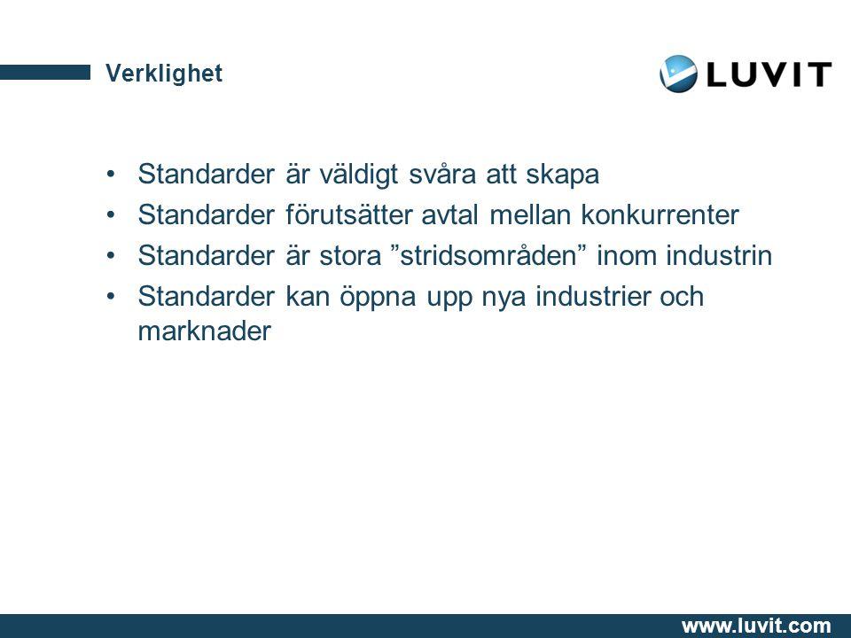 www.luvit.com Verklighet Standarder är väldigt svåra att skapa Standarder förutsätter avtal mellan konkurrenter Standarder är stora stridsområden inom industrin Standarder kan öppna upp nya industrier och marknader