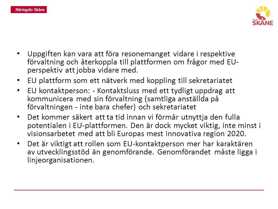 Tankar kring EU-plattformens roll och funktion och din roll som EU-kontaktperson inom enheten/förvaltningen.