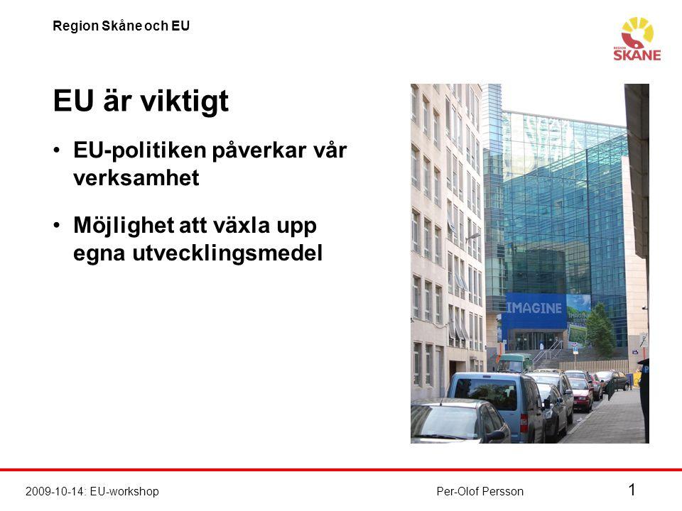 1 2009-10-14: EU-workshop Region Skåne och EU Per-Olof Persson EU är viktigt EU-politiken påverkar vår verksamhet Möjlighet att växla upp egna utvecklingsmedel