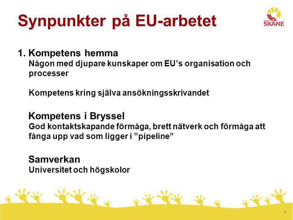 5 Synpunkter på EU-arbetet 1. Kompetens hemma Någon med djupare kunskaper om EU's organisation och processer Kompetens kring själva ansökningsskrivand