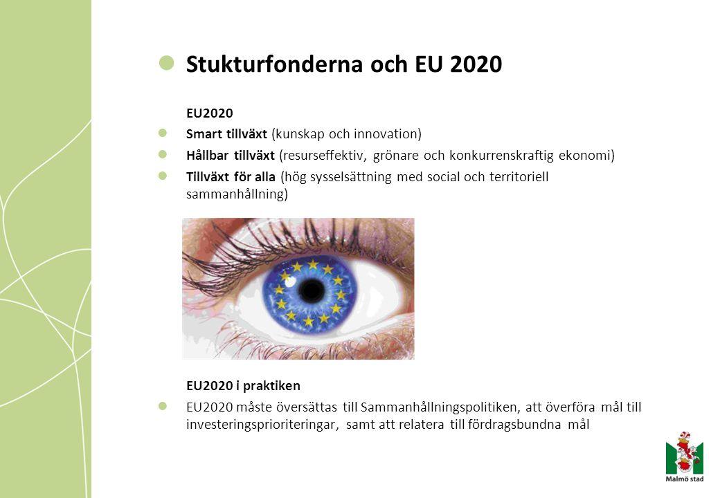 Stukturfonderna och EU 2020 EU2020 Smart tillväxt (kunskap och innovation) Hållbar tillväxt (resurseffektiv, grönare och konkurrenskraftig ekonomi) Ti