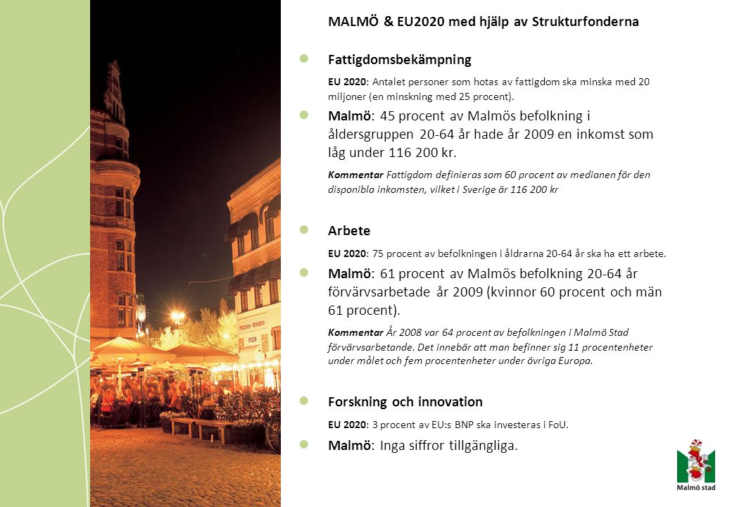 MALMÖ & EU2020 med hjälp av Strukturfonderna Fattigdomsbekämpning EU 2020: Antalet personer som hotas av fattigdom ska minska med 20 miljoner (en mins
