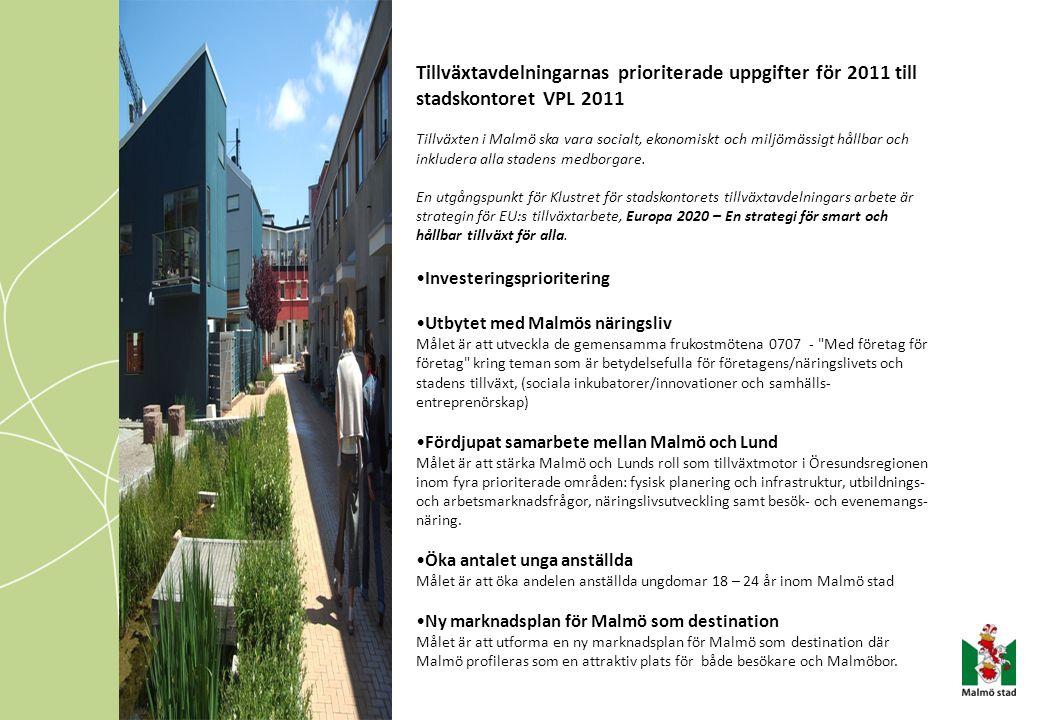 Tillväxtavdelningarnas prioriterade uppgifter för 2011 till stadskontoret VPL 2011 Tillväxten i Malmö ska vara socialt, ekonomiskt och miljömässigt hå