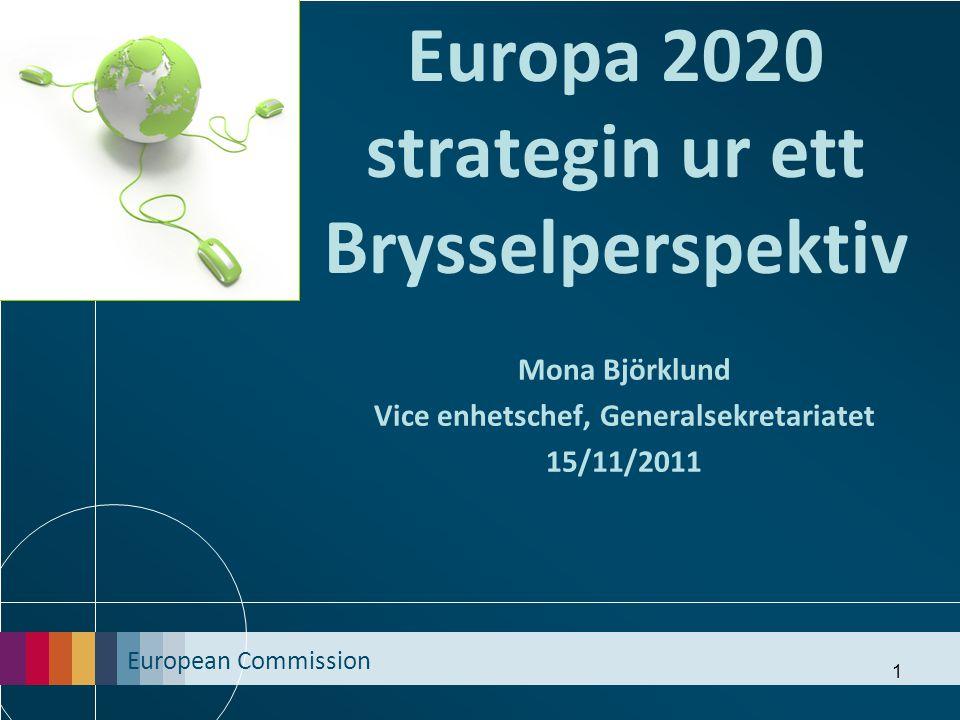 European Commission 2 Europa 2020: 3 tematiska prioriteter 1.) Smart tillväxt : att utveckla en ekonomi baserad på kunskap och innovation 2.) Hållbar tillväxt : främja en mer effektiv, grönare och mer konkurrenskraftig ekonomi 3.) Inkluderande tillväxt : fostra en ekonomi baserad på jobb och social och territoriell sammanhållning 2
