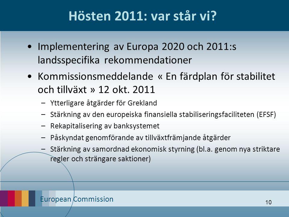 European Commission 10 Hösten 2011: var står vi? Implementering av Europa 2020 och 2011:s landsspecifika rekommendationer Kommissionsmeddelande « En f