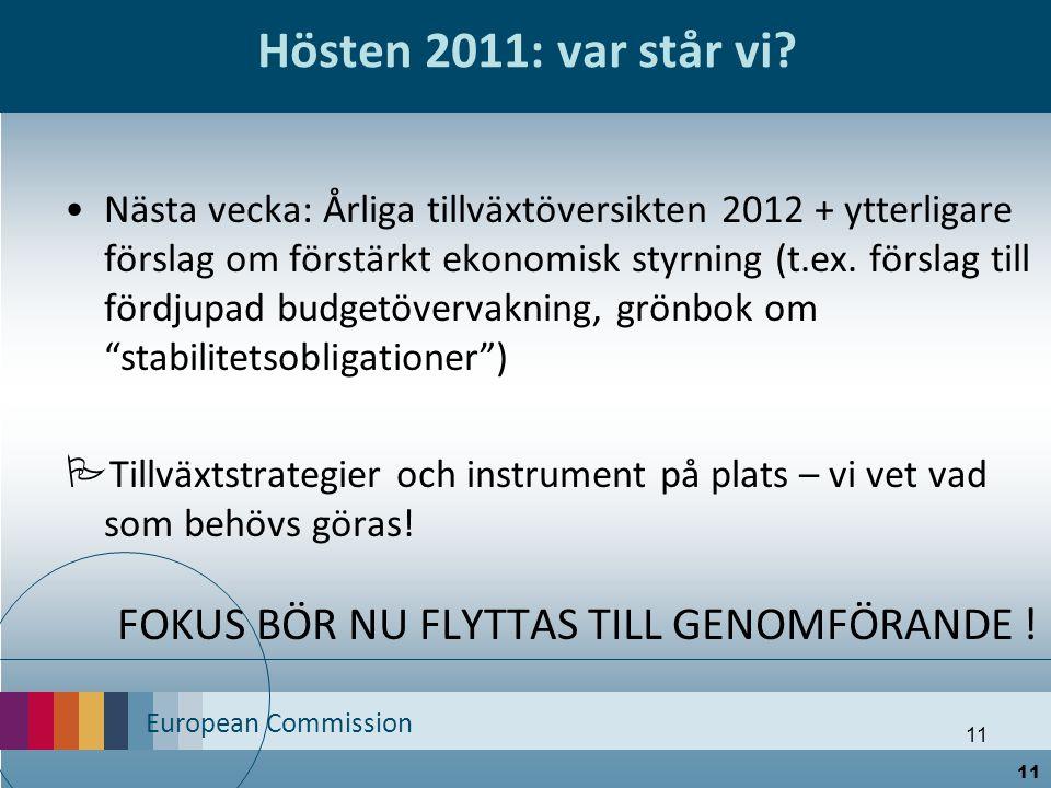 European Commission 11 Hösten 2011: var står vi? Nästa vecka: Årliga tillväxtöversikten 2012 + ytterligare förslag om förstärkt ekonomisk styrning (t.