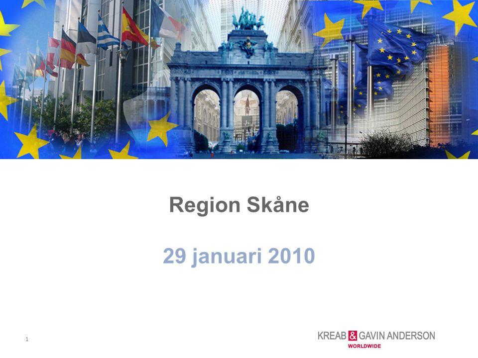 12 Region Skånes styrgrupp för EU-frågor –besluta om Brysselkontorets prioriterade områden för påverkan eller implementering –sätta ihop team; kontoret tillsammans med experterna från Skåne –utvärdera arbetet Arbetsmetod - aktörer