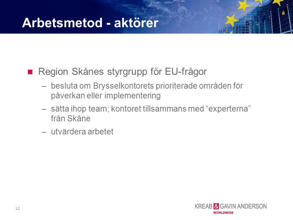 12 Region Skånes styrgrupp för EU-frågor –besluta om Brysselkontorets prioriterade områden för påverkan eller implementering –sätta ihop team; kontore