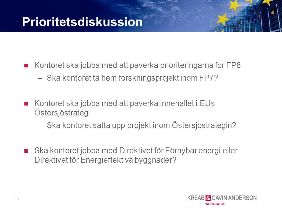 17 Kontoret ska jobba med att påverka prioriteringarna för FP8 –Ska kontoret ta hem forskningsprojekt inom FP7? Kontoret ska jobba med att påverka inn