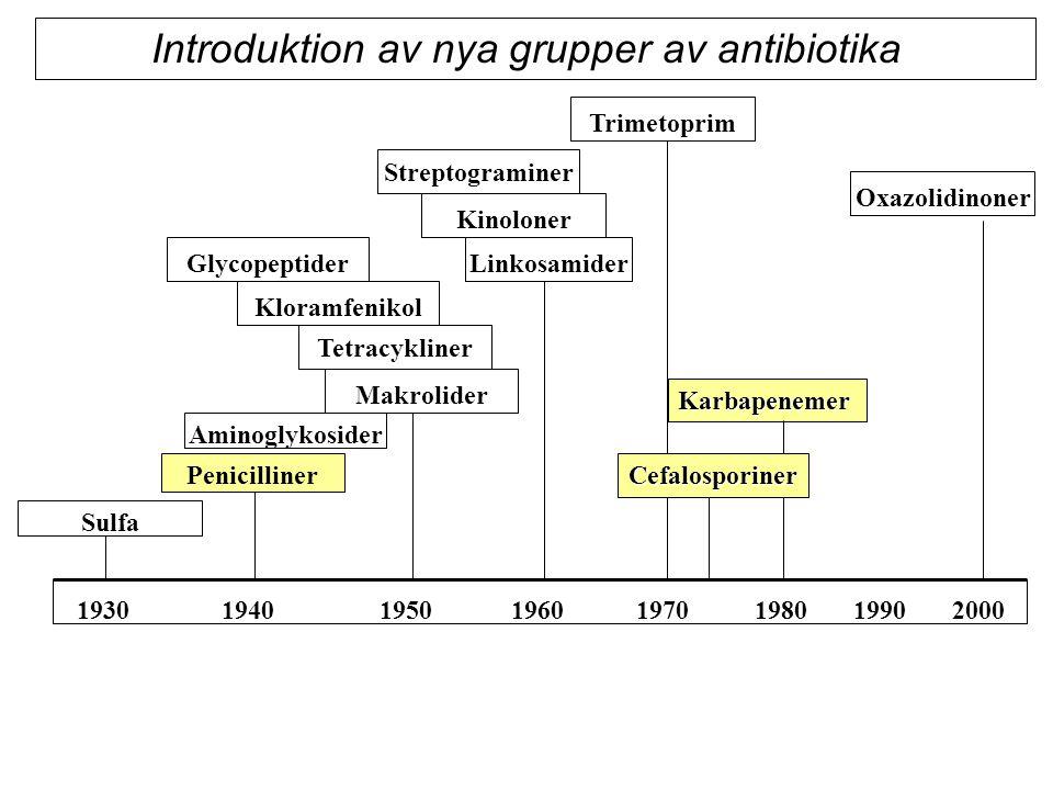 Upptäckt av antibiotika - enorma medicinska vinster Minskad sjuklighet och dödlighet i bakteriella infektioner Förutsättning för modern sjukvård Avancerad kirurgi Cytostatikabehandling Transplantationer Neonatalvård