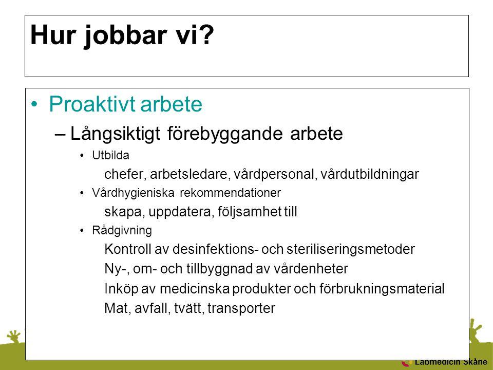 Hur jobbar vi? Proaktivt arbete –Långsiktigt förebyggande arbete Utbilda chefer, arbetsledare, vårdpersonal, vårdutbildningar Vårdhygieniska rekommend