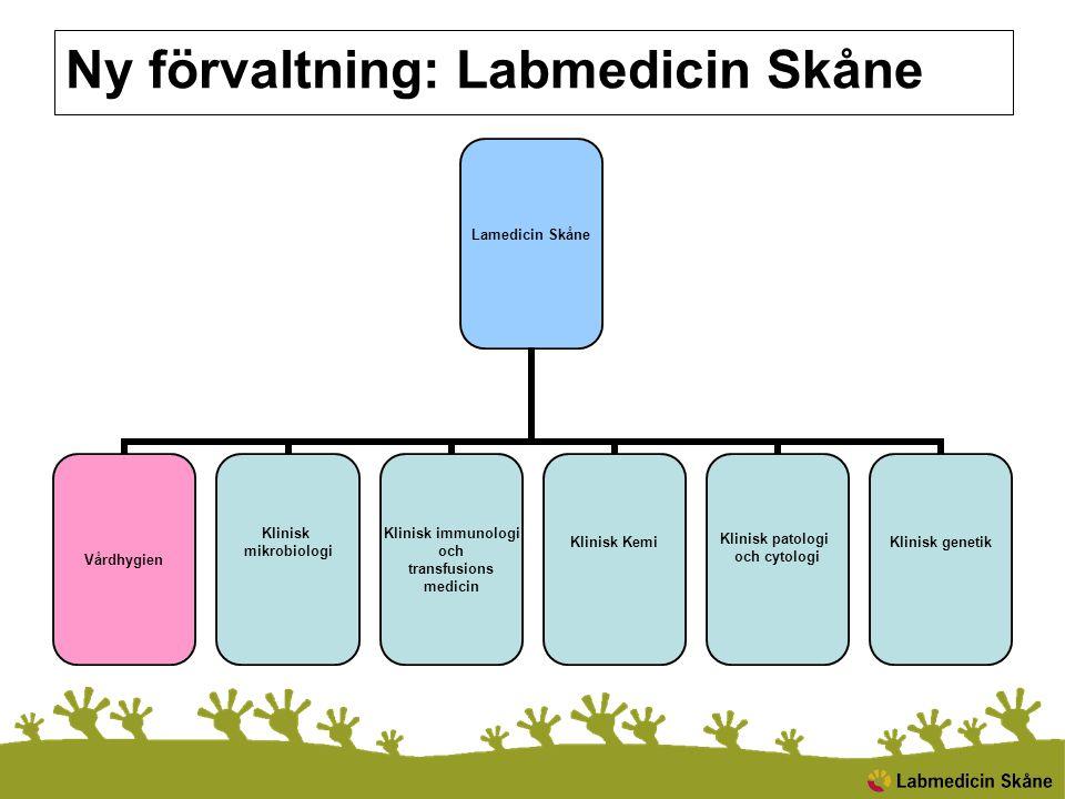 Ny förvaltning: Labmedicin Skåne Lamedicin Skåne Vårdhygien Klinisk mikrobiologi Klinisk immunologi och transfusions medicin Klinisk Kemi Klinisk pato