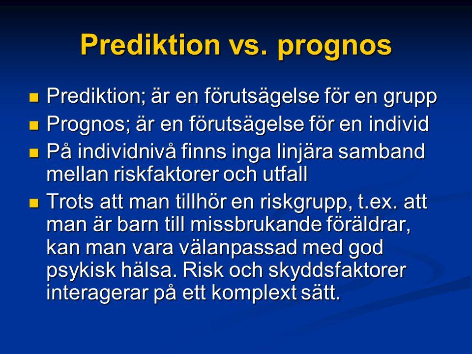 Riskfaktorer individen Pojke Tidig debut Bråkig, aggressiv Positiv till droger Sensation seeking Bristande kunskap om drogrisker Biologisk disposition
