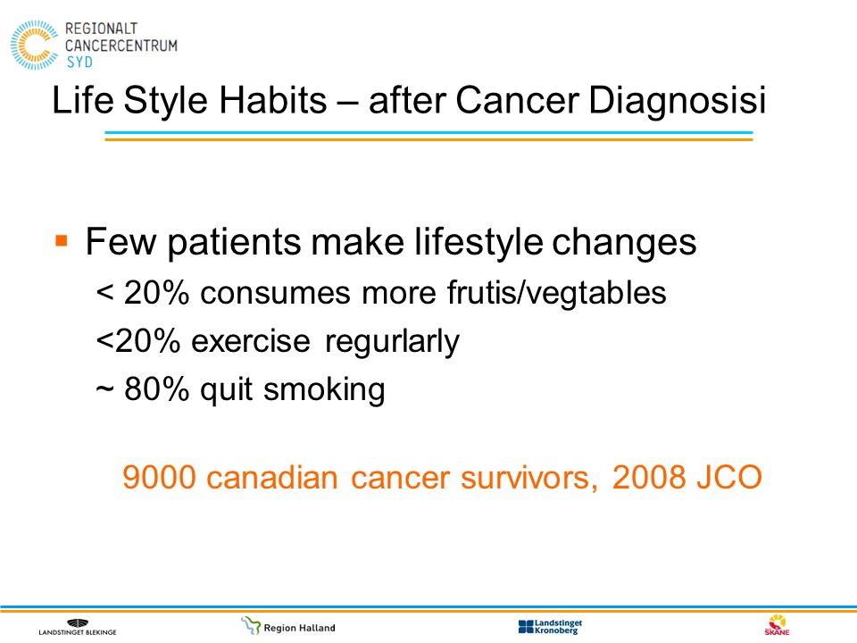 Life Style Habits – after Cancer Diagnosisi  Few patients make lifestyle changes < 20% consumes more frutis/vegtables <20% exercise regurlarly ~ 80%