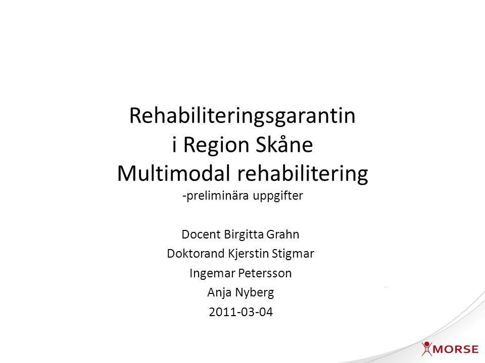 Patienter inskrivna i rehabiliteringsgarantin MMS 2009-09-01 -2010-08-31 Datauttag 2009-09-01-2010-08-31 Extra datauttag för utskrivning och uppföljning 2010-09-01-2010-11-30