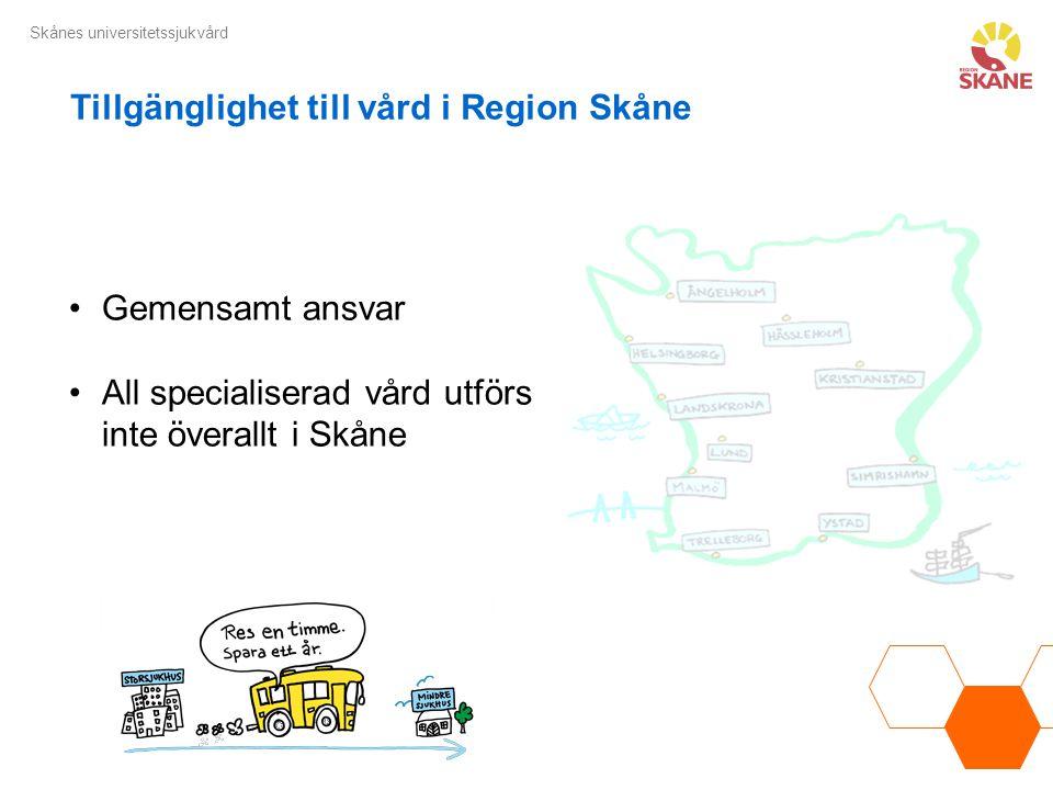 Skånes universitetssjukvård Gemensamt ansvar All specialiserad vård utförs inte överallt i Skåne Tillgänglighet till vård i Region Skåne