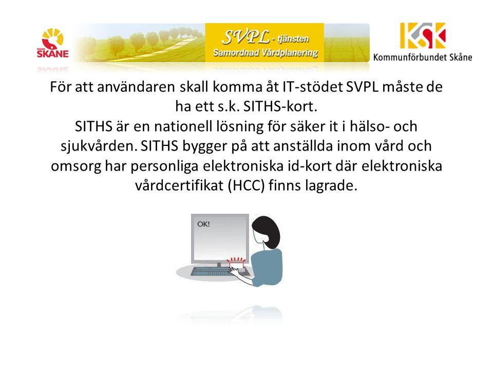 När användaren loggat in med hjälp av sitt Siths-kort och kod på datorn kan de nå SVPL-tjänsten via en webbläsare