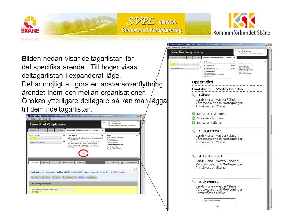 Bilden nedan visar deltagarlistan för det specifika ärendet.