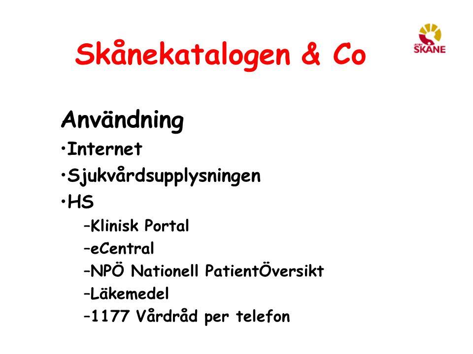 Skånekatalogen & Co Användning Internet Sjukvårdsupplysningen HS –Klinisk Portal –eCentral –NPÖ Nationell PatientÖversikt –Läkemedel –1177 Vårdråd per