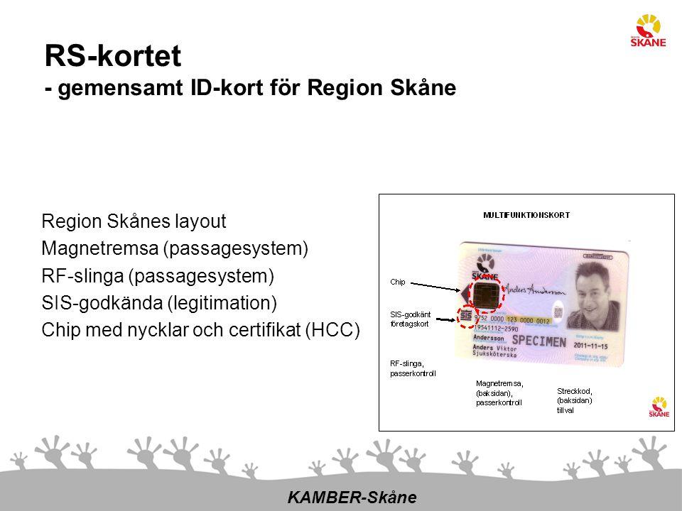 Region Skånes layout Magnetremsa (passagesystem) RF-slinga (passagesystem) SIS-godkända (legitimation) Chip med nycklar och certifikat (HCC) KAMBER-Sk