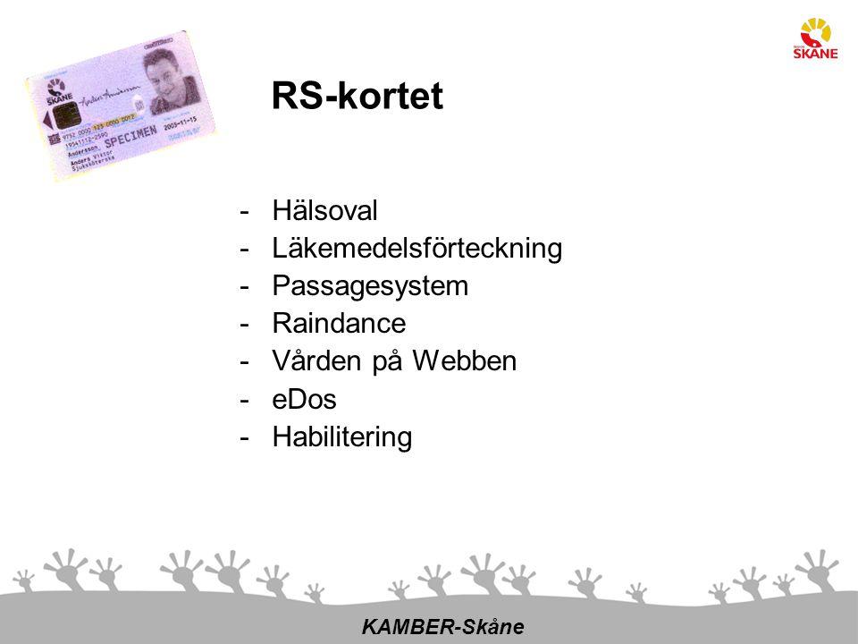 -Hälsoval -Läkemedelsförteckning -Passagesystem -Raindance -Vården på Webben -eDos -Habilitering KAMBER-Skåne RS-kortet