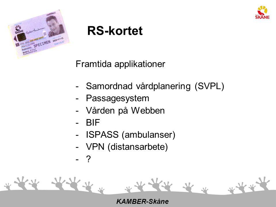 Framtida applikationer -Samordnad vårdplanering (SVPL) -Passagesystem -Vården på Webben -BIF -ISPASS (ambulanser) -VPN (distansarbete) -? KAMBER-Skåne