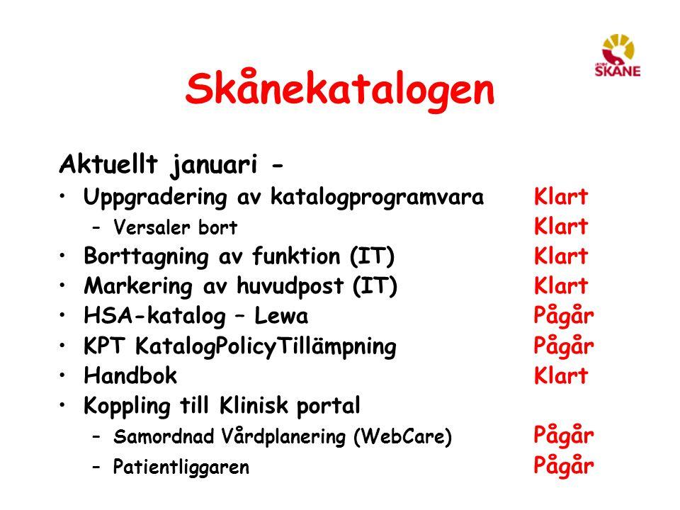 Skånekatalogen Aktuellt januari - Uppgradering av katalogprogramvara Klart –Versaler bort Klart Borttagning av funktion (IT) Klart Markering av huvudp