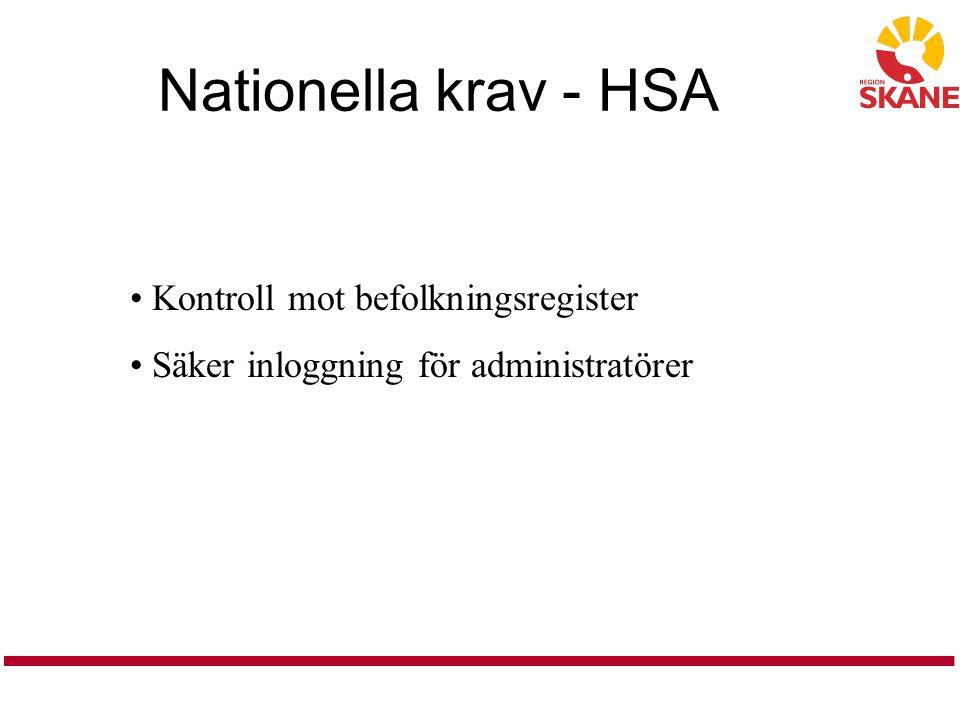 Nationella krav - HSA Kontroll mot befolkningsregister Säker inloggning för administratörer