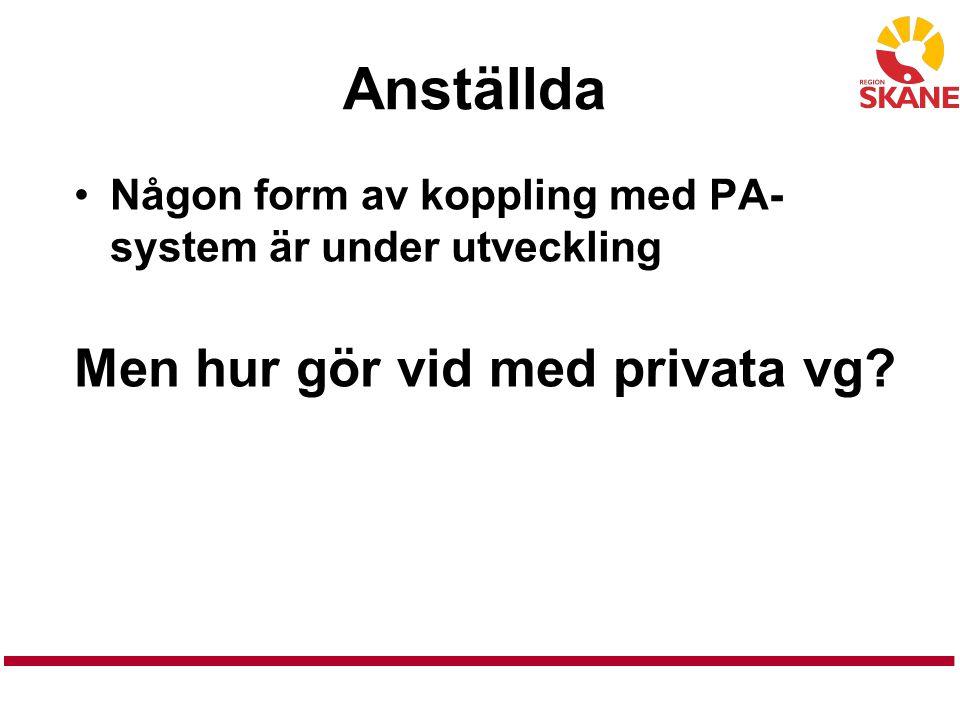Anställda Någon form av koppling med PA- system är under utveckling Men hur gör vid med privata vg?