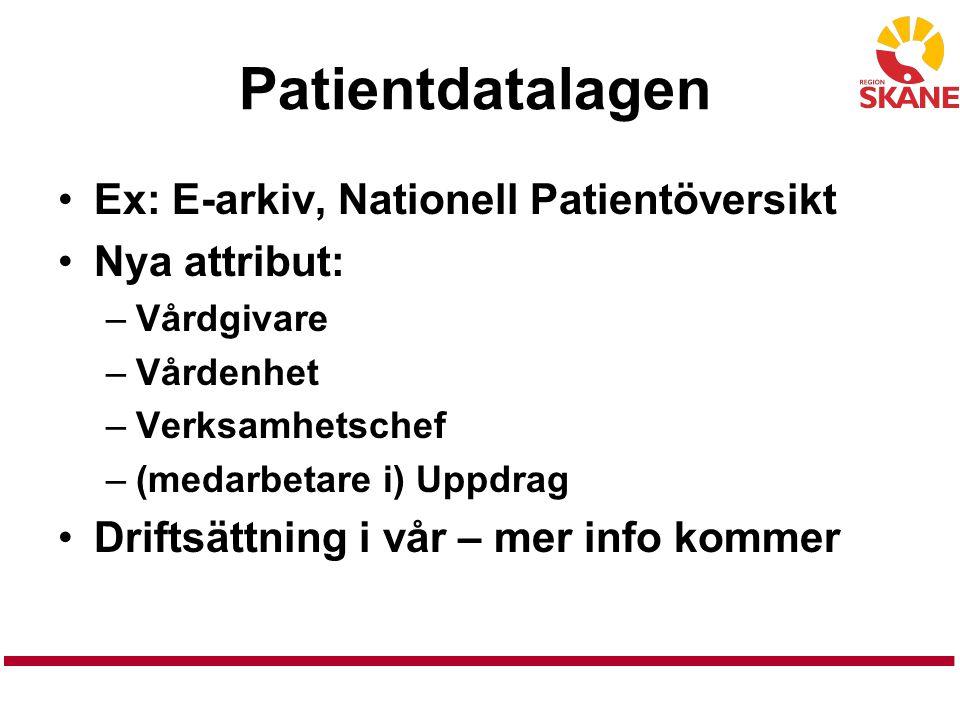 Patientdatalagen Ex: E-arkiv, Nationell Patientöversikt Nya attribut: –Vårdgivare –Vårdenhet –Verksamhetschef –(medarbetare i) Uppdrag Driftsättning i