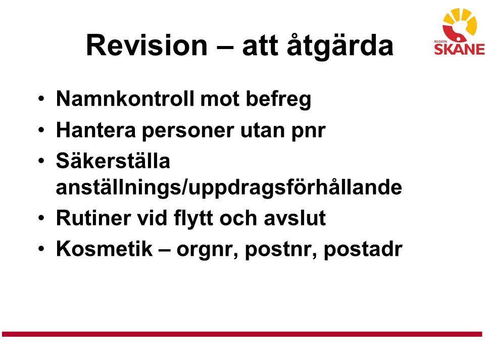 Revision – att åtgärda Namnkontroll mot befreg Hantera personer utan pnr Säkerställa anställnings/uppdragsförhållande Rutiner vid flytt och avslut Kos