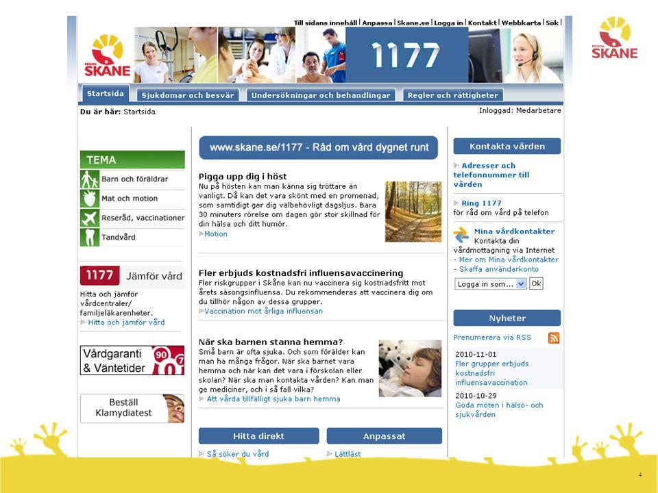 5 Redaktionellt innehåll - omfattning Steg 1: –www.skane.se/1177 --> www.1177.se/skanewww.skane.se/1177 Övergång: –Egen startsida klar –Allt regionalt innehåll inom området Regler och rättigheter