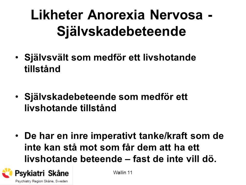 Wallin 11 Likheter Anorexia Nervosa - Självskadebeteende Självsvält som medför ett livshotande tillstånd Självskadebeteende som medför ett livshotande