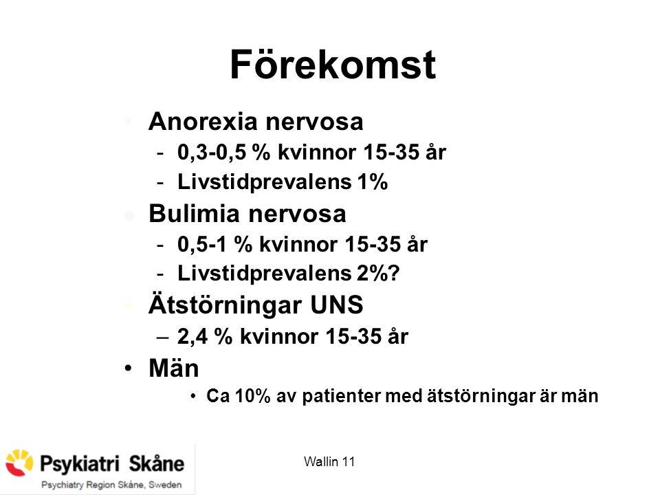 Wallin 11 Förekomst Anorexia nervosa -0,3-0,5 % kvinnor 15-35 år -Livstidprevalens 1% l Bulimia nervosa -0,5-1 % kvinnor 15-35 år -Livstidprevalens 2%