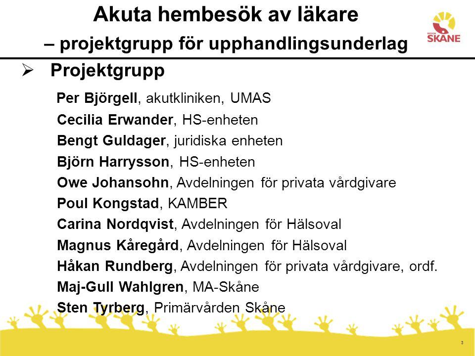 3 Akuta hembesök av läkare – projektgrupp för upphandlingsunderlag  Projektgrupp Per Björgell, akutkliniken, UMAS Cecilia Erwander, HS-enheten Bengt