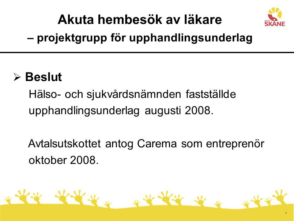 4 Akuta hembesök av läkare – projektgrupp för upphandlingsunderlag  Beslut Hälso- och sjukvårdsnämnden fastställde upphandlingsunderlag augusti 2008.