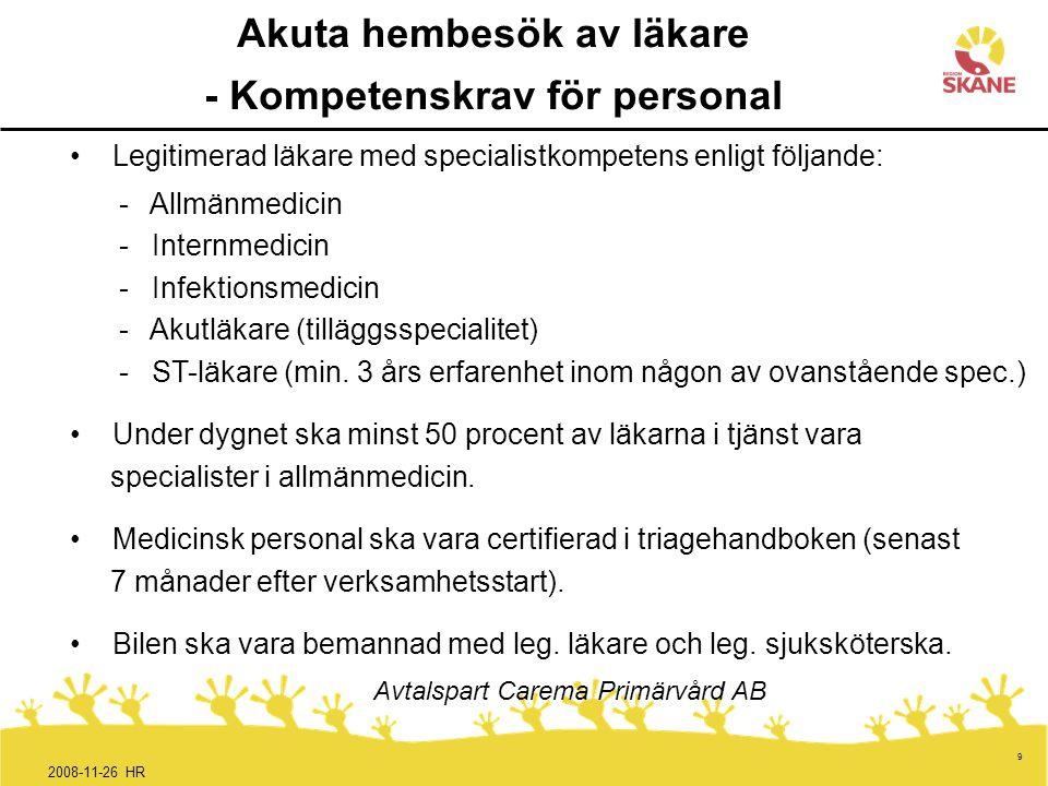 9 Akuta hembesök av läkare - Kompetenskrav för personal Legitimerad läkare med specialistkompetens enligt följande: - Allmänmedicin - Internmedicin -