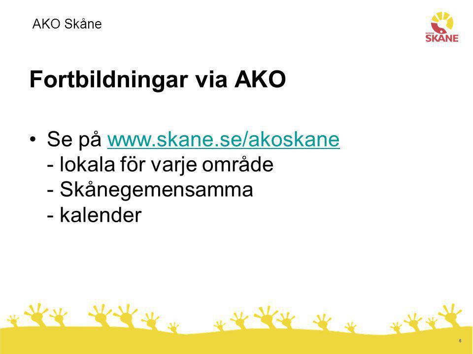 7 Mer fortbildning för Hälsoval Skåne Presentation av fortbildningar, med eller utan målrelaterad ersättning på Vårdgivarwebben – länk finns hos AKO Skåne Alla AKO-arrangerade fortbildningar ger ersättning AKO Skåne