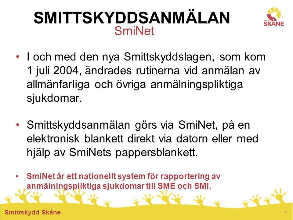 4 Smittskydd Skåne SMITTSKYDDSANMÄLAN SmiNet I och med den nya Smittskyddslagen, som kom 1 juli 2004, ändrades rutinerna vid anmälan av allmänfarliga och övriga anmälningspliktiga sjukdomar.