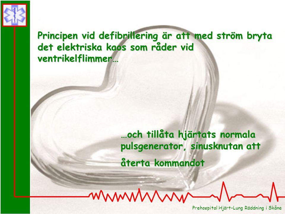 Prehospital Hjärt-Lung Räddning i Skåne Principen vid defibrillering är att med ström bryta det elektriska kaos som råder vid ventrikelflimmer… …och t