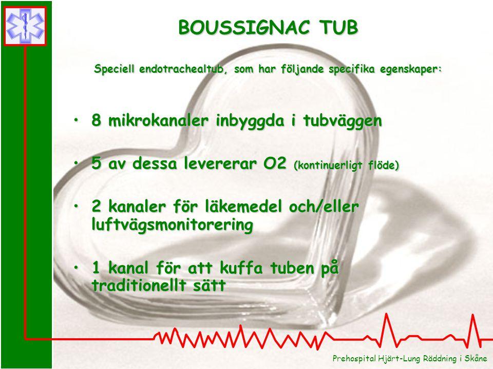 Prehospital Hjärt-Lung Räddning i Skåne BOUSSIGNAC TUB Speciell endotrachealtub, som har följande specifika egenskaper: 8 mikrokanaler inbyggda i tubv