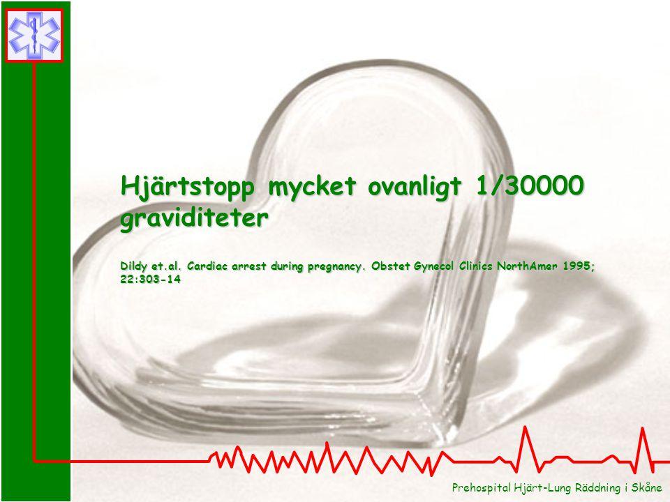 Prehospital Hjärt-Lung Räddning i Skåne Hjärtstopp mycket ovanligt 1/30000 graviditeter Dildy et.al. Cardiac arrest during pregnancy. Obstet Gynecol C